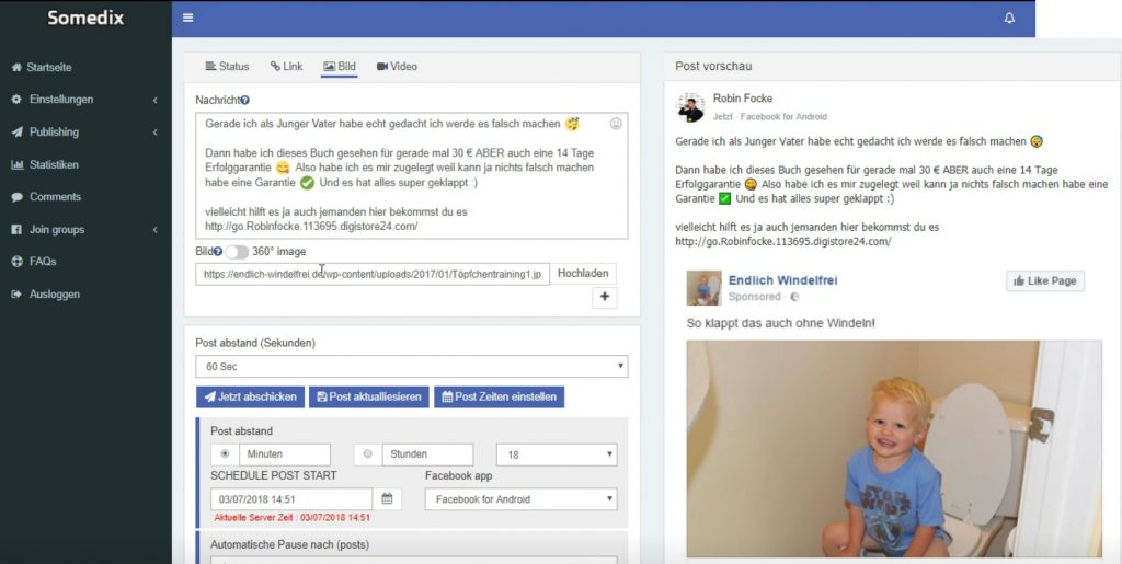 Somedix Facebot 2.0 geld verdienen schnell einfach traffic facebook blog newsletter